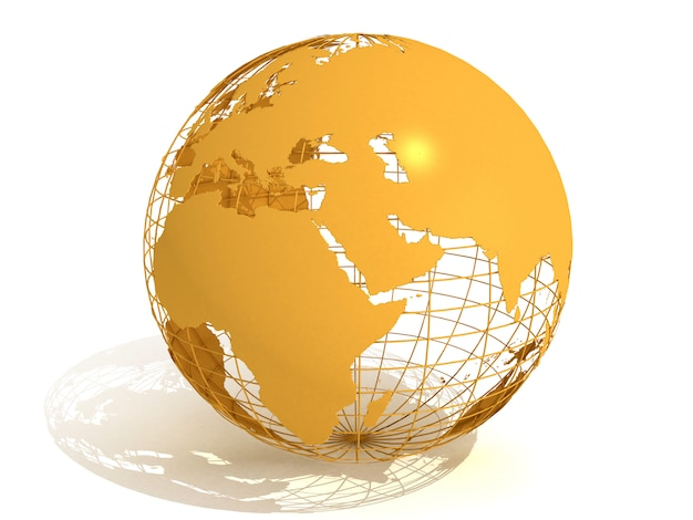 Mapa świata i glob - podróże. ilustracja renderowania 3d