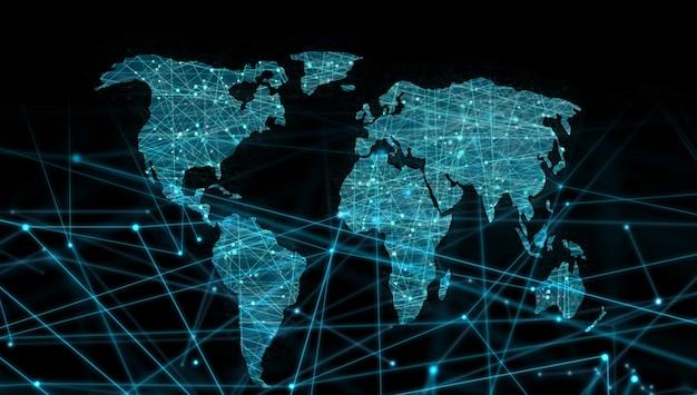 Mapa świata linków linią przerywaną