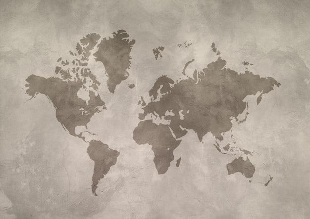 Mapa świata na białym tle na betonowej ścianie