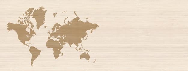 Mapa świata na białym tle na beżowym tle ściany drewniane.
