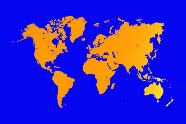 Mapa świata, na białym tle na niebieskim tle. płaska ziemia, szablon mapy, tło sylwetka mapy.