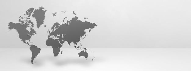 Mapa świata na białym tle na tle białej ściany. renderowanie 3d