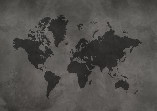 Mapa świata na białym tle na tle czarnej betonowej ściany