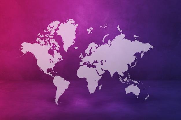 Mapa świata na białym tle na tle fioletowej ściany. ilustracja 3d