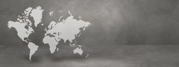 Mapa świata na białym tle na tle ściany betonowej. ilustracja 3d. poziomy baner