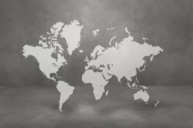 Mapa świata na białym tle na tle ściany betonowej. ilustracja 3d