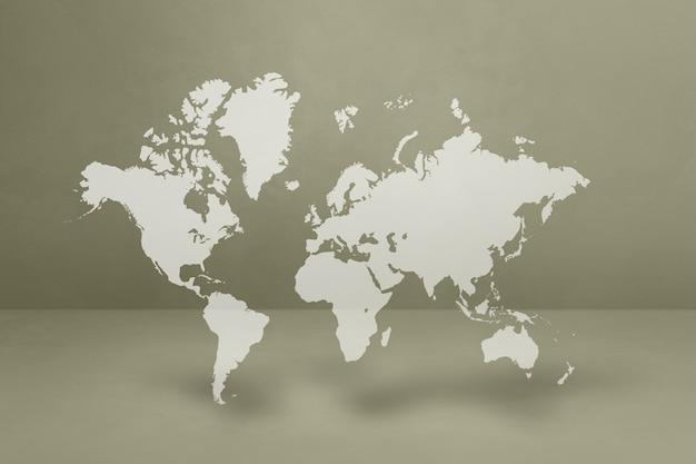 Mapa świata na białym tle na tle szarej ścianie. ilustracja 3d