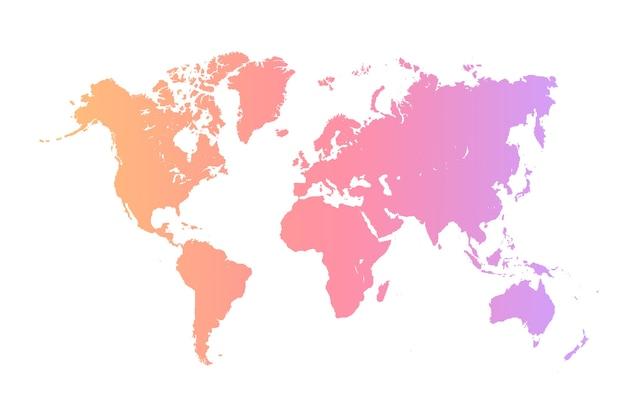 Mapa świata, na białym tle. płaska ziemia, szary szablon mapy, kula ziemska podobna ikona mapy świata. podróż na całym świecie, tło sylwetka mapy.