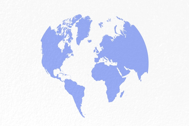 Mapa świata na pastelowym niebieskim tle