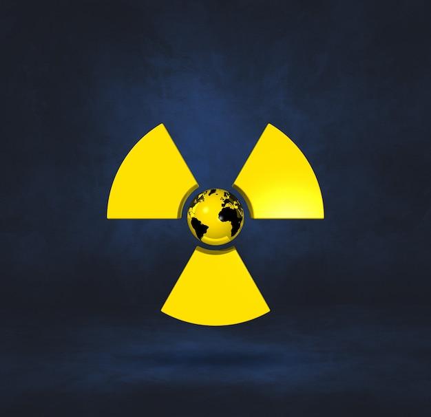 Mapa świata na symbol radioaktywnych. ciemnoniebieskie tło studio. ilustracja 3d