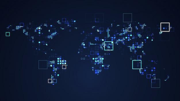 Mapa świata sieć technologia cyfrowa grafika ilustracja. niebieski kolor. internetowa futurystyczna koncepcja.