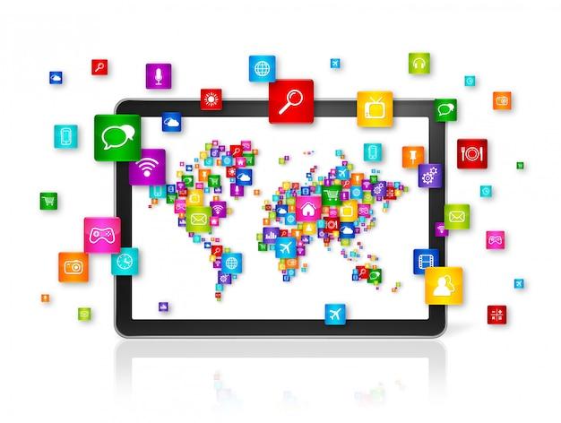 Mapa świata z ikonami na komputerze typu tablet. koncepcja przetwarzania w chmurze