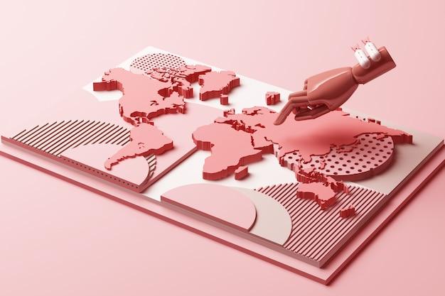 Mapa świata z koncepcją ręki i bomby ludzkiej abstrakcyjny skład platform geometrycznych kształtów w pastelowych odcieniach różu renderowania 3d