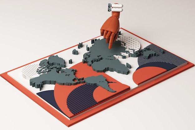 Mapa świata z ludzką ręką i koncepcją bomby abstrakcyjna kompozycja geometrycznych kształtów platform w odcieniu pomarańczowym i niebieskim. renderowanie 3d