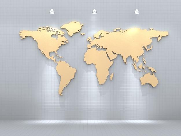 Mapa świata złoty na białej ścianie z plamą światła. renderowania 3d