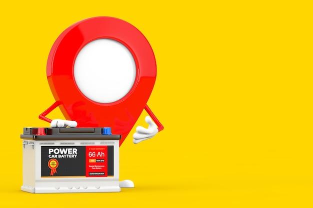 Mapa wskaźnik pin charakter maskotka i akumulator samochodowy 12 v akumulator z streszczenie etykieta na żółtym tle. renderowanie 3d