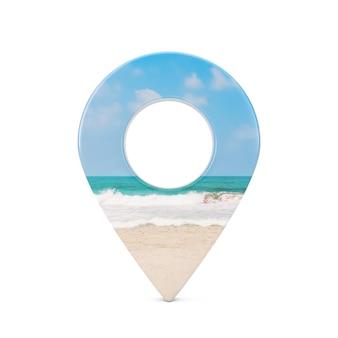 Mapa wskaźnik pin z widokiem na ocean lub wybrzeże morza na białym tle. renderowanie 3d