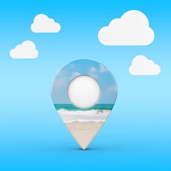 Mapa wskaźnik pin z widokiem na ocean lub wybrzeże morza na tle błękitnego nieba. renderowanie 3d