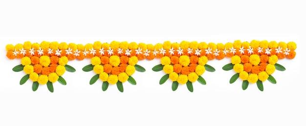 Marigold Flower Rangoli Design Na Diwali Festival Premium Zdjęcia