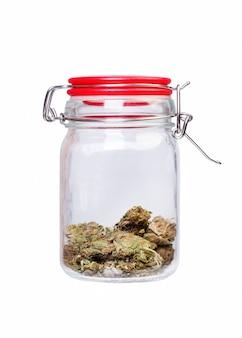 Marihuana i konopie, słoik chwastów na białym tle. fotografia makro.