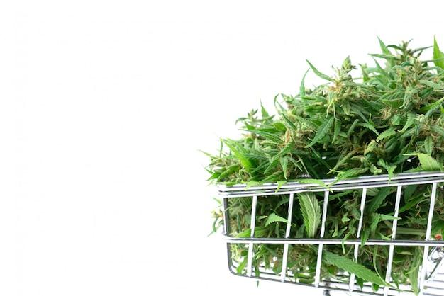 Marihuana kwiat w wózek na zakupy odizolowywającym