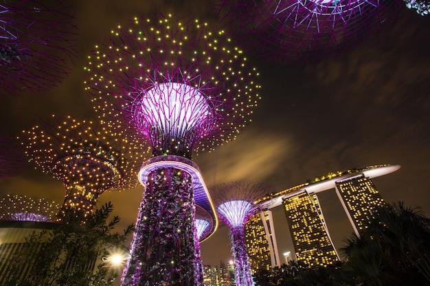 Marina bay, singapur, 16 marca 2015: wielkie drzewo światło pokaż noc dla ludzi oglądać pokaz w garden by the bay, singapur