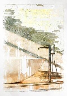 Marker szkic łazienki z wanną i mikserem.