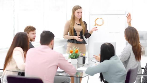 Marketer przeprowadza prezentację dla zespołu biznesowego.