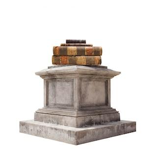 Marmur cokół ze starych książek