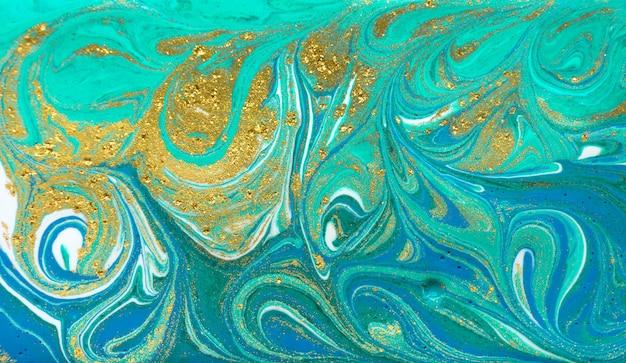 Marmur zielony i niebieski brokat