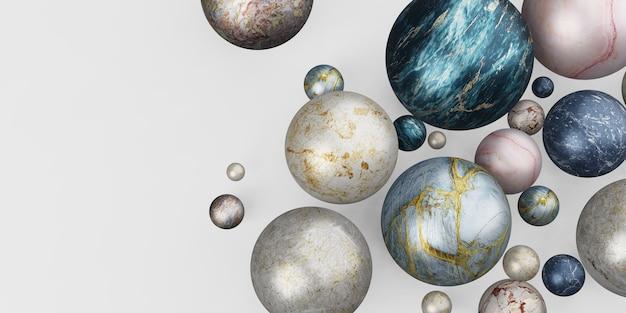 Marmurowa kula szklana kula tło marmurowe koraliki ilustracja 3d