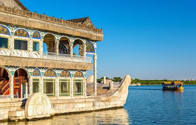 Marmurowa łódź w summer palace w pekinie, chiny
