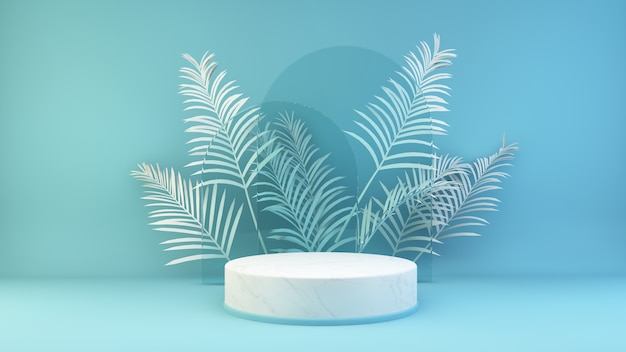 Marmurowa platforma na niebieskim tle renderowania 3d