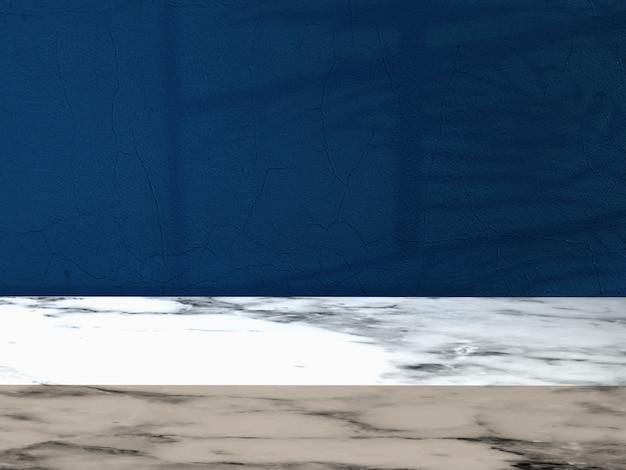 Marmurowa podłoga z błękitnym ściennym tłem i okno cieniami
