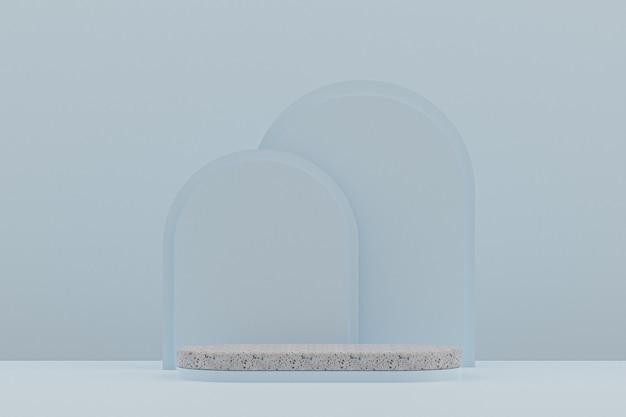 Marmurowa półka na podium lub pusty stojak na produkty w minimalnym stylu na jasnoniebieskim tle do prezentacji produktów kosmetycznych.