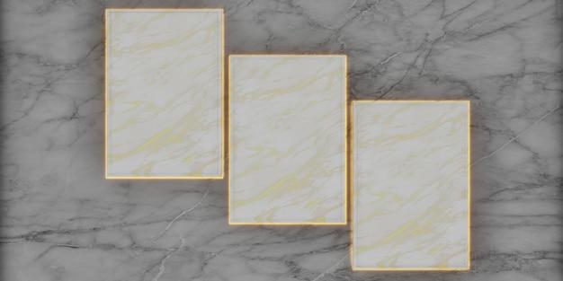 Marmurowa ramka studyjna do wyświetlania produktów i projektowania treści luksusowe renderowanie 3d