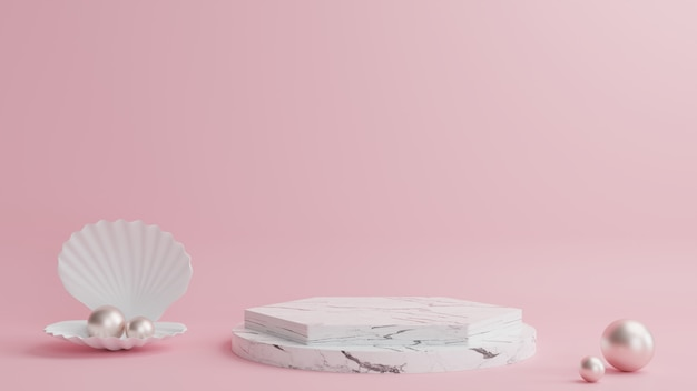 Marmurowe podium w geometrycznym kształcie, obok muszle i perły, z pięknym różowym tłem