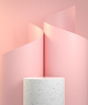 Marmurowe podium z krzywą spiralną z różowego papieru