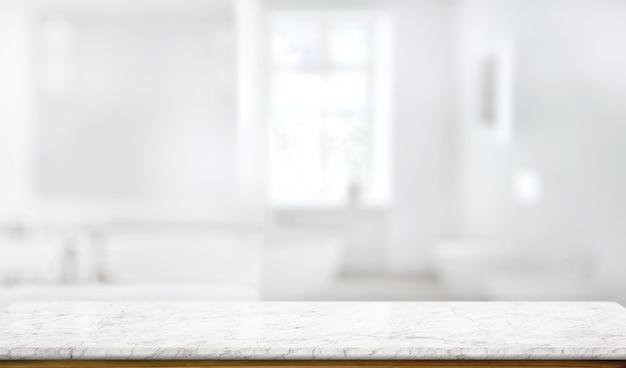 Marmurowy blat stołu w tle pokoju kąpielowego