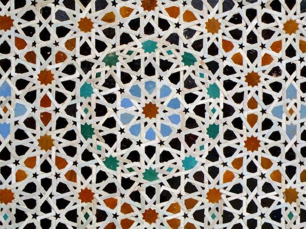 Marokański styl gwiazda wzór niebieski pomarańczowy kolor czarny kafelki ściany w fezie, maroko, tło, wzór