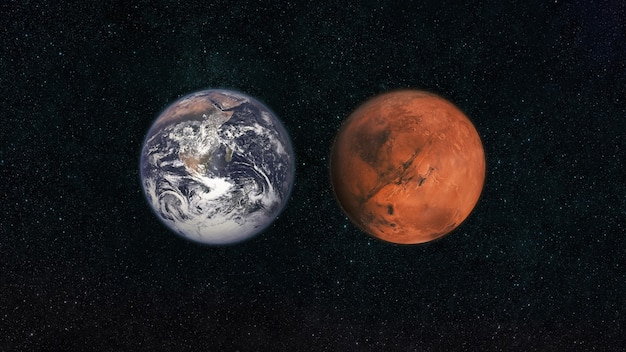 Mars i ziemia. planety układu słonecznego na ciemnoniebieskim gwiaździstym niebie w przestrzeni