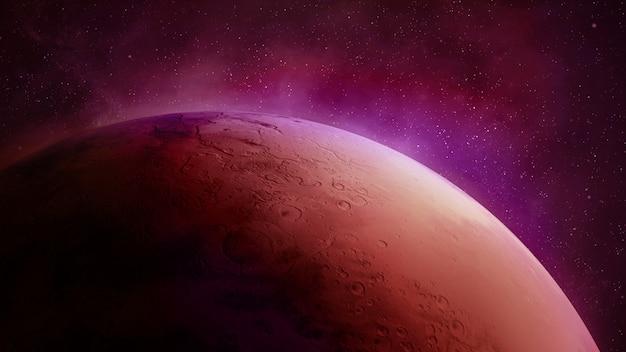 Mars na tle gwiaździstej przestrzeni, powierzchnia czerwonej planety.