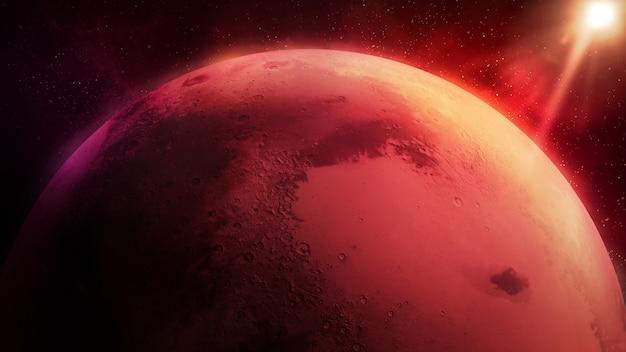 Mars oświetlony przez słońce planeta z bliska close