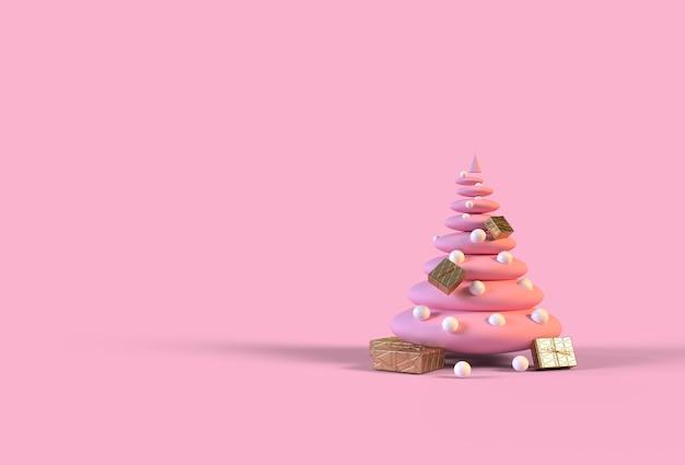 Marshmallow pink christmas tree z dekoracjami i pudełkami na prezenty