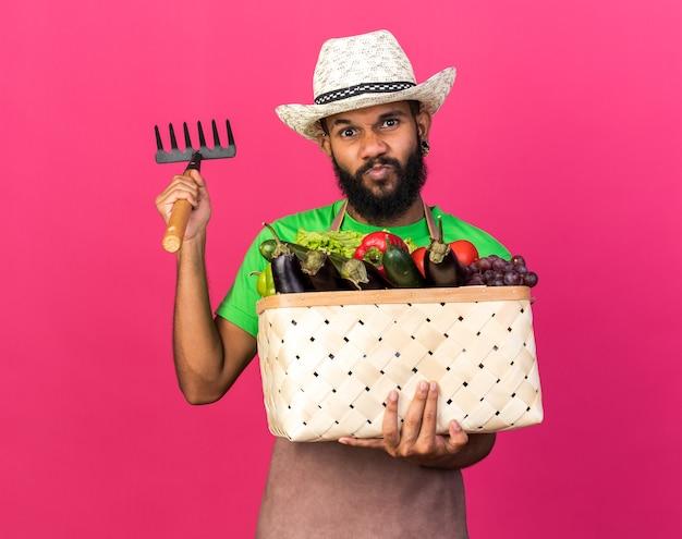 Marszcząc brwi młody ogrodnik afroamerykański facet w kapeluszu ogrodniczym, trzymający kosz warzyw z grabiami