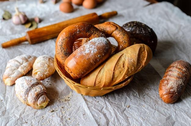 Martwa natura produktów chlebowych.