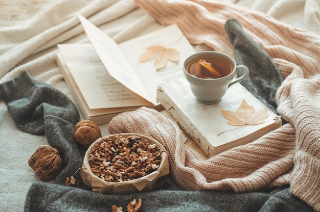 Martwa natura w mieszkaniu wnętrza salonu. swetry i filiżanka herbaty ze stożkiem, orzechami i jesiennymi dekoracjami na książkach. czytaj, odpoczywaj. przytulna koncepcja jesień lub zima.