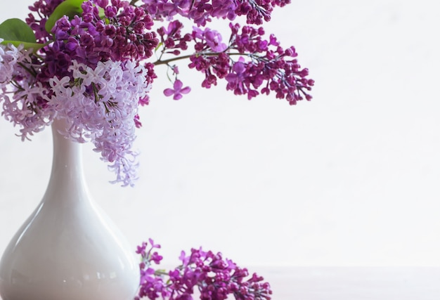 Martwa natura z kwitnącą gałęzią bzu