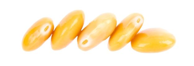 Marynowana fasola łubinu żółtego na białym tle tournus konserwowany łubin