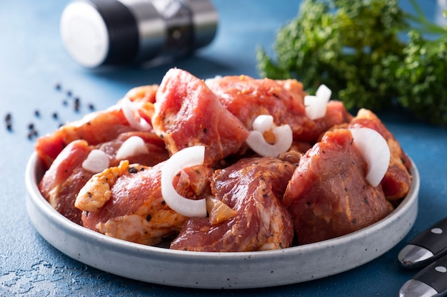Marynowana wieprzowina z przyprawami i cebulą gotowa do gotowania na szaszłykach. zbliżenie
